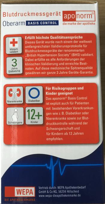 Aponorm Basic Control - Karton Seite - geeignet für Nierenkranke, Diabetiker, Schwangere und Kinder 12+
