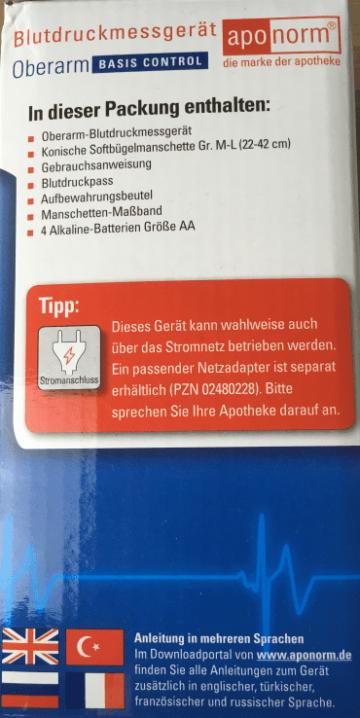 Aponorm Basic Control - Karton Seite